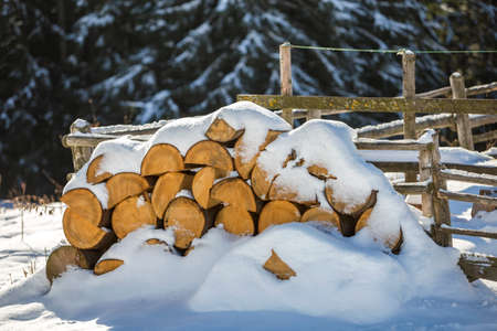 Neatly piled stack of chopped dry trunks wood covered with snow outdoors on bright cold winter sunny day, abstract background, Fire wood logs prepared for winter, ready for burning. Stockfoto