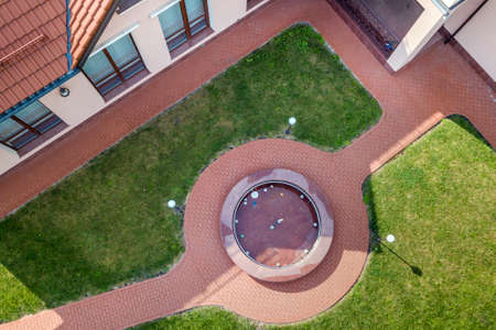 Aerial view of a residential new house yard.