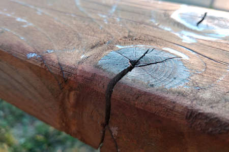 Close-up of old weathered wooden board with cracks and knots. 免版税图像