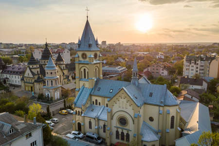 Aerial view of urban area in Ivano-Frankivsk city, Ukraine. Big building of old historic church in rural suburbs.