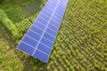 Blue solar panels for clean energy on green grass. Stok Fotoğraf
