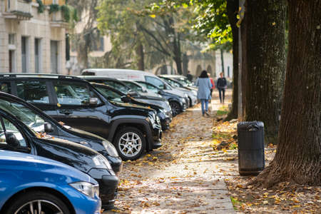 Modern cars parked on city street side in residential discrict. Shiny vehicles parked by the curb. Urban transportation infrastructure concept. Archivio Fotografico