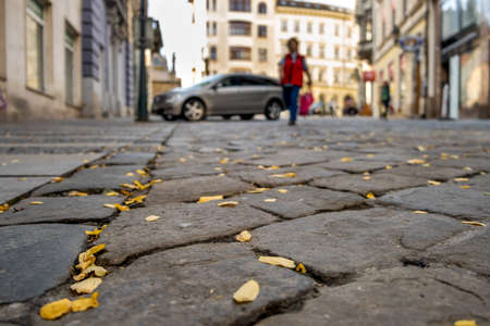 Stone pavement with blurred car parked on city street side in residential discrict. Urban transportation infrastructure concept.