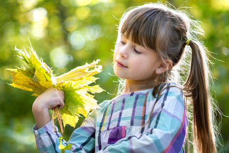 Portrait of happy pretty child girl holding a bunch of fallen tree leaves in autumn forest. Positive female kid enjoying warm day in fall park.