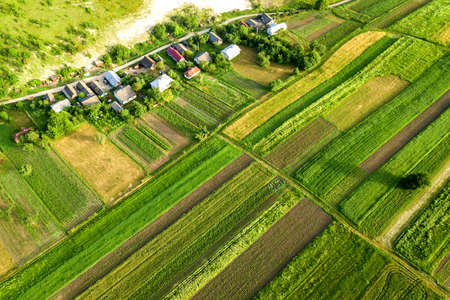 Aerial view of a small village win many houses and green agricultural fields in spring with fresh vegetation after seeding season on a warm sunny day. Standard-Bild