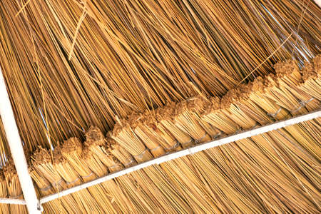 Close up detail of yellow straw roof.