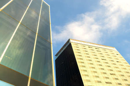 Perspective view of modern high-rise glass skyscraper building.