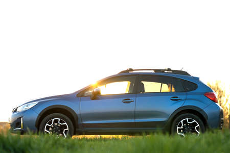 Landscape with blue off road car on green grass at sunset. Traveling by auto, adventure in wildlife, expedition or extreme travel on a SUV automobile. Offroad 4x4 vehicle in field at sunrise. 免版税图像