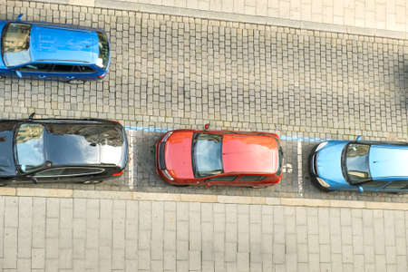Top view of many cars parked on a city street. Reklamní fotografie
