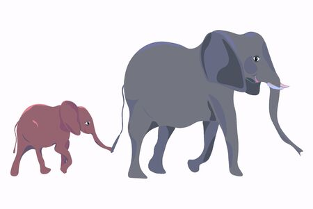 Cute little elephant clings to tail of his mother Illustration