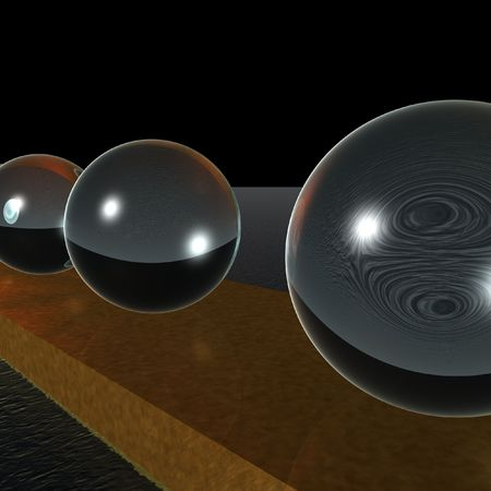 metall and glass: 3d GlassKugeln Stock Photo