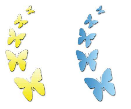 gelb: Schmetterling in Blau und Gelb