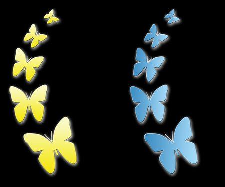gelb: Schmetterling in Blau und Gelb mit BG schwarz