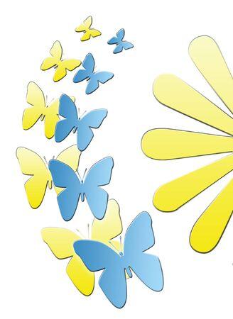 gelb: schmetterlinge an einer blume  Stock Photo