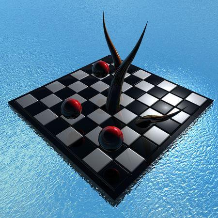 kugel: Pr�sentation Schachbrettmit roten Kugeln