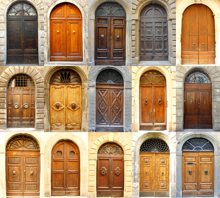collage of various italian doors Standard-Bild