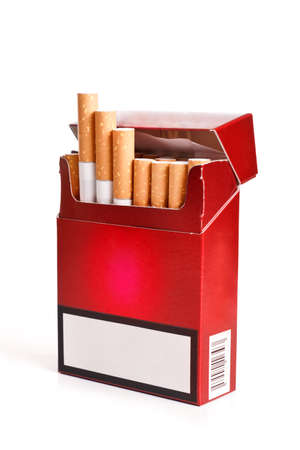 vices: Pack of cigarettes with cigarettes sticking out isolated on white Stock Photo