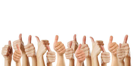 thumbs up symbol: many thumbs up against white background Stock Photo