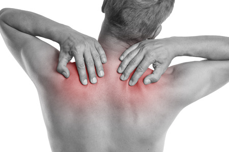 grabbing at the back: pain in neck Stock Photo