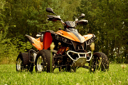 quad bike at the summer forest