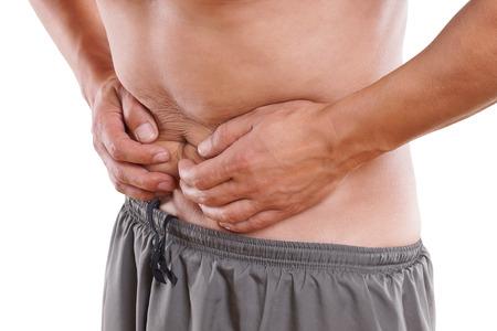 Man has abdominal pain and cramps photo