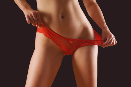 thong woman: red panties