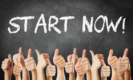 start now Standard-Bild