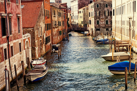 Venice, Italy, Grand Canal and historic tenements Editorial