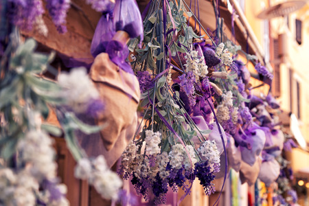beautiful color of dried lavender hanging