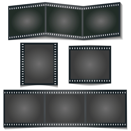 Movie photo stripe with shadow isolated on white background