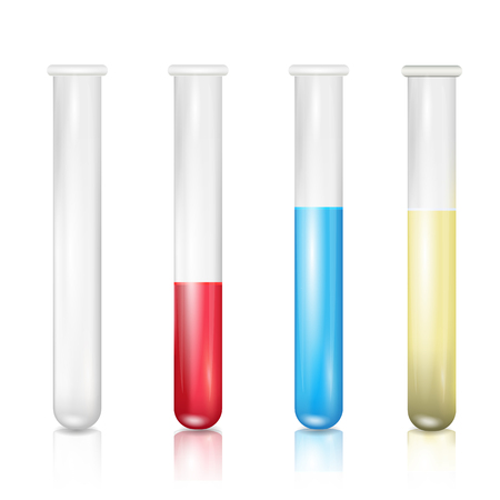 Set of test tubes isolated on white background