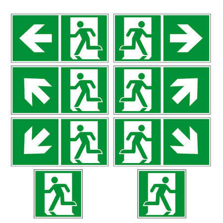 Escape route sign collection vector isolated on white background