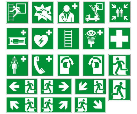 Kolekcja znaków drogi ewakuacyjnej DIN 7010 i wektor ASR 1.3 na białym tle Ilustracje wektorowe
