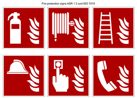 fire protection sign vector collection DIN 7010 and ASR 1.3 isolated on white background