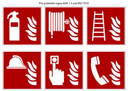 raccolta di vettori di segnale di protezione antincendio DIN 7010 e ASR 1.3 isolati su sfondo bianco