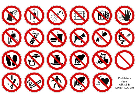 prohibitory sign collection DIN 7010 vector isolated on white background
