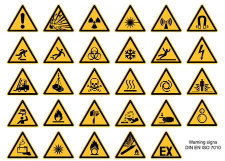 Warning sign collection DIN 7010 and ASR1.3 vector isolated on white background 免版税图像 - 117795611