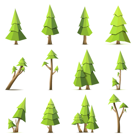 Polygon vector tree set isolated on white background