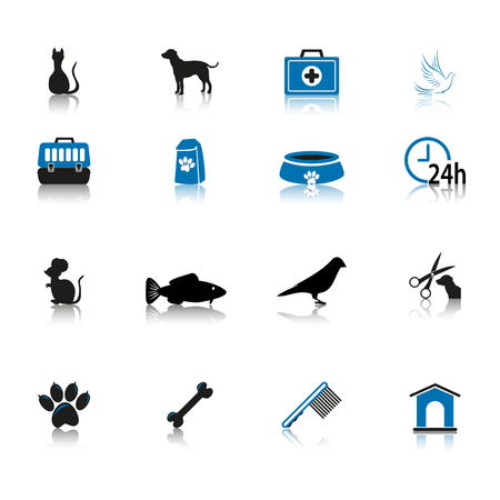 Pet care icon set black and blue isolated on white background