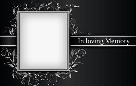 Biglietto da lutto con cornice per foto ed effetto floreale 3d Vettoriali