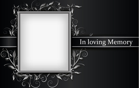 Mourning card with photo frame and 3d floral effect