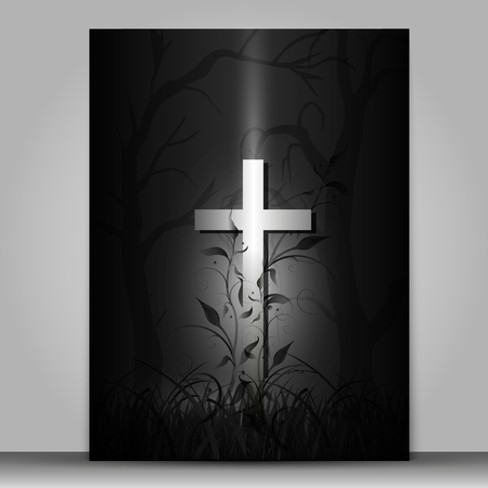 3d effect cross vector mourning card isolated on gray background