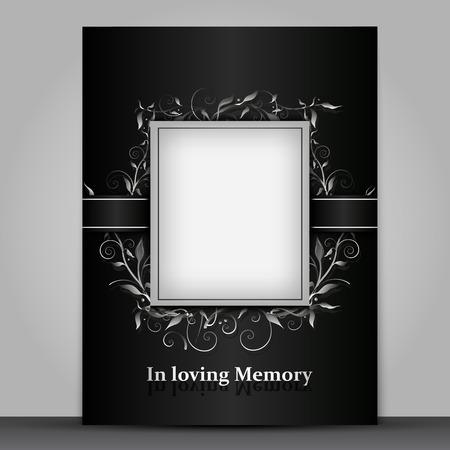 Carta da lutto di dimensioni standard con cornice per foto isolata su sfondo grigio