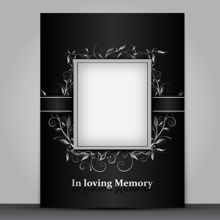 Mourning card standard size with photo frame isolated on gray background