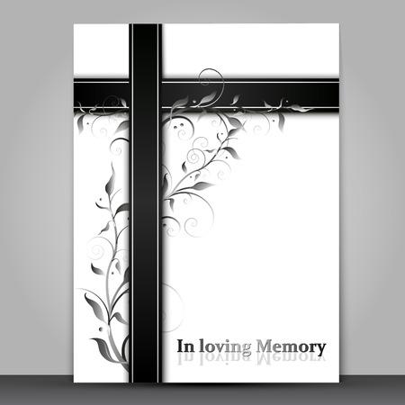 Rouwkaart met 3D-effect en tekst in liefdevolle geheugentekst geïsoleerd op een grijze achtergrond Vector Illustratie