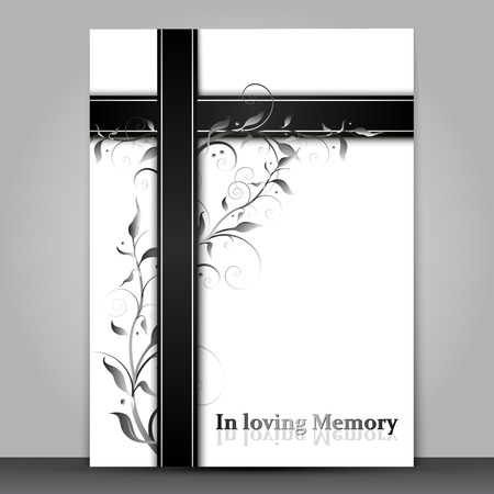 Mourning card with 3d effect and text in loving memory text isolated on gray background