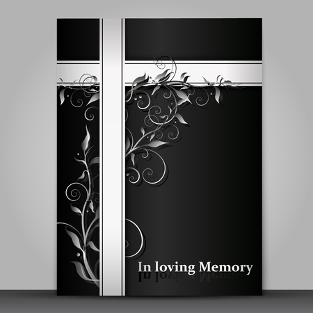 Dark mourning card with 3d floral ornament effect isolated on gray background Illustration