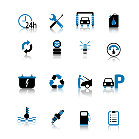Car icon icon set black and blue isolated on white background