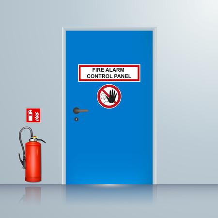 fire alarm system room vector illustration Illustration