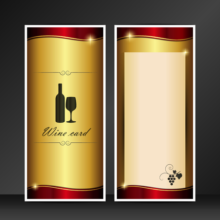 wine card golden and red vector template isolated on gray background